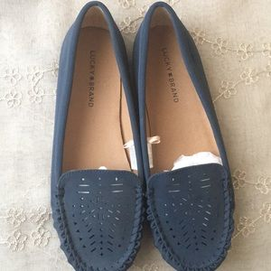 Imitation suede navy blue loafers